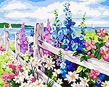 WONZOM DIY Pintura por Números para Adultos, Pintar por Numeros Kit sobre Lienzo para Principiantes, Nuevos Pintores, Flor Brillante 16 * 20 Pulgadas Sin Marco