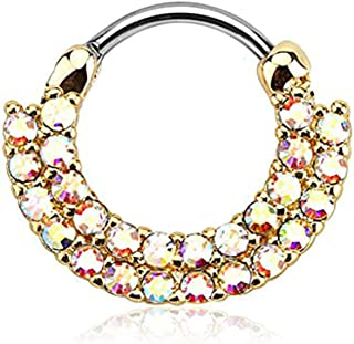 Forbidden Body Jewelry 16g 8mm Surgical Steel Double Lined CZ Cartilage and Septum Clicker Hoop