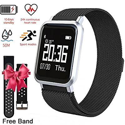 EarnCore Fitness Tracker Smart Watch for Men Women Kids - Bluetooth Waterproof Touch Screen Smart Wrist Watch with Heart Rate Monitor Blood Pressure Monitor Health Activity Tracker Metal Black