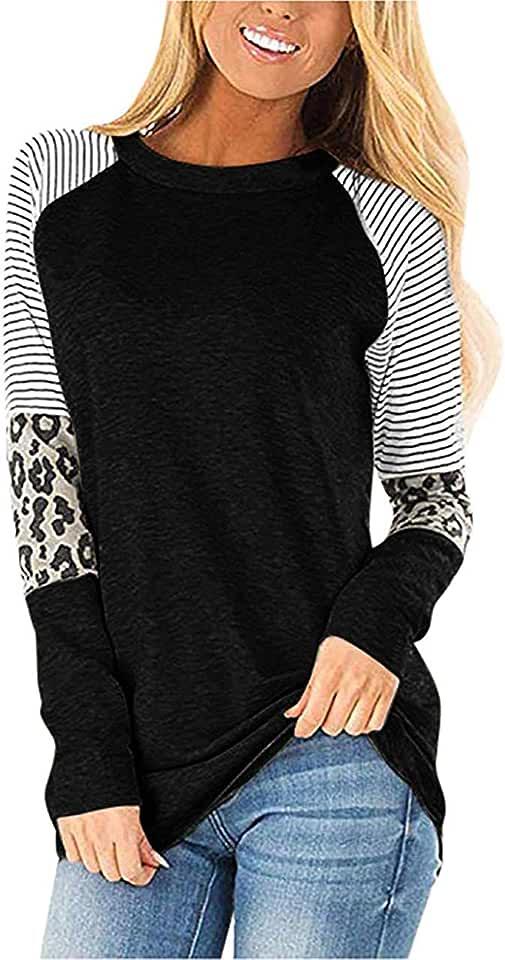 Wahtien Women Casual Leopard Print Stripe Patchwork Loose Tunic top Crew Neck Long Sleeve Blouses
