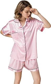 Women's Satin Pajamas Sleepwear Long and Short Button-Down Pj Set