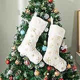 Henrey Tech Calcetines Navideños 2 Piezas de Piel Sintética Blanca con Calcetines de Chimenea Dorado con Copo de Nieve Bolsa de Dulces para la Decoración de la Fiesta de Navidad