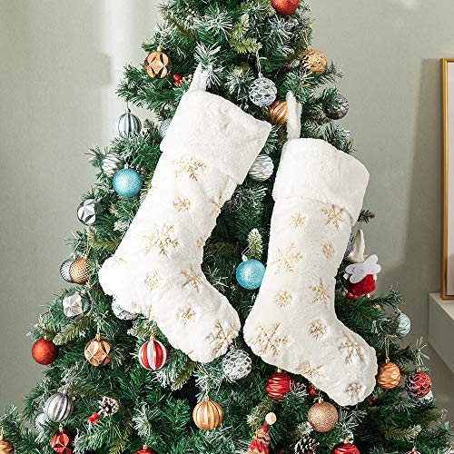 Amidaky Plush Christmas Stockings White Fur 2 Pcs 22 inches Large Gold Snowflake Sequin Embroidered Stockings for Family Holiday Xmas Party Decorations