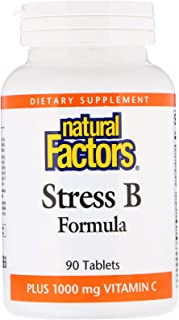 Natural Factors - Stress B Formula Plus 1000mg of Vitamin C, Support for Energy & Normal Nerve Function, 90 Tablets