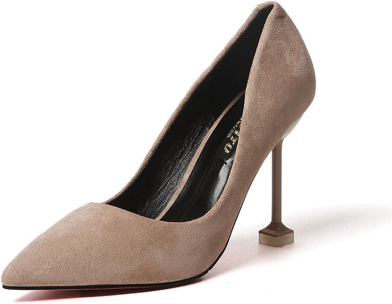 1TO9 Womens Pointed-Toe No-Closure Unique Platform Apricot Suede Pumps shoes - 4.5 B(M) US