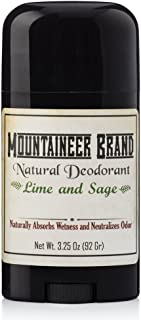 Natural Aluminum-Free Deodorant Stick by Mountaineer Brand   Stay Fresh With Nontoxic Ingredients   3.25 oz (Lime and Sage Scent)