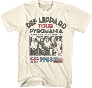 Def Leppard 1977 English Rock Band 1983 USA Pyromania Tour Natural Adult T-Shirt