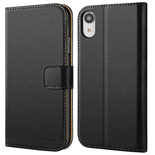 HOOMIL Handyhülle für iPhone XR Hülle, Premium Leder Flip Schutzhülle für Apple iPhone XR Tasche, Schwarz