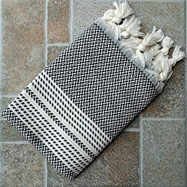 Dandelion - Herringbone Pattern - Set of 2 Naturally-Dyed Cotton Turkish Hand Towels Peshkir - 35x19 Inches - Gray