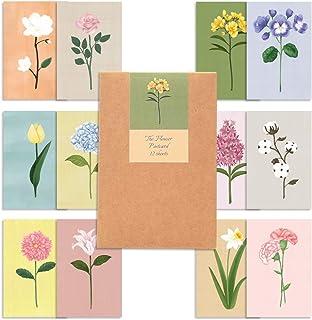 モノライク ザ·フラワー葉書はがき ポストカード セット The flower Postcard - 12セット感性的なデザインはがきデイリーはがき、雰囲気のあるすっきりしたはがき長方形葉書,デザイン文具