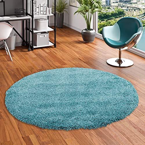 Luxury - Alfombra de pelo alto y largo Redonda - Azul Turquesa - 4 tamaños