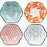 Dimension - Approx. 10*4.5 cm/4.2*1.8 inch(Diameter x H) What you get - 4 sauce bowls in different pattern. Material - Classy glaze ceramic fired at 1300 degree centigrade, non-toxic and BPA-free, enjoy your meals with freshness and healthiness. Grea...