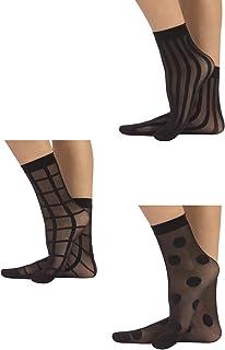 3 PARES Calcetines de mujer | Mini medias semi transparentes | Fantasía Lunares, Rayas Verticales, Cuadros | Negro | Talla Unica | 100% Made in Italy |