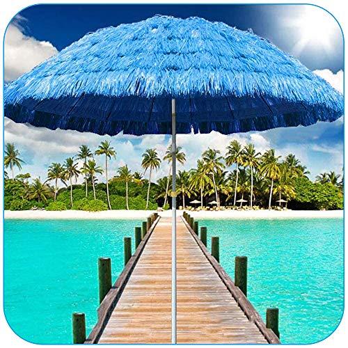 Ombrellone da Spiaggia Paglia (170 cm, Blu) Ombrellone Hula in Rafia Altezza Regolabile Ombrellone da Giardino in Stile Hawaiano Spiaggia Terrazza All'aperto
