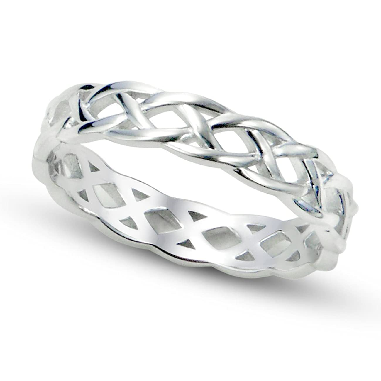 Metal Factory 925 Sterling Silver Celtic Knot Eternity Band Ring