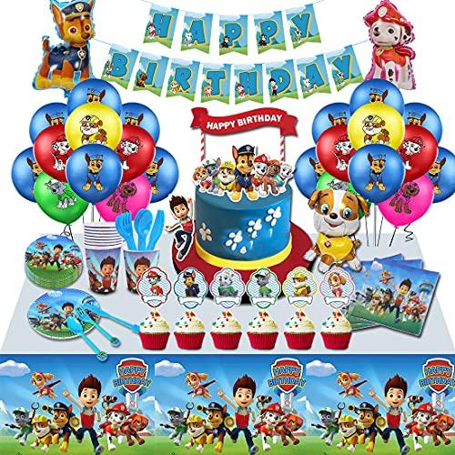 veeyiki Paw Patrol Decorazioni di Compleanno Party-Banner, Piatti, Tazze, Tovaglioli,Tovaglie,Cucchiai,Forchette,Coltelli,Topper per Torta,Topper per Cupcake,Palloncini in Lattice