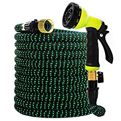 HIYUTOY Garden Hose Expandable Hose - Heavy Duty Flexible Leakproof Hose-10-Pattern High-Pressure Water Spray Nozzle & Bag & Plastic Holder.No Kink Tangle-Free Pocket Water Hose (50FT)
