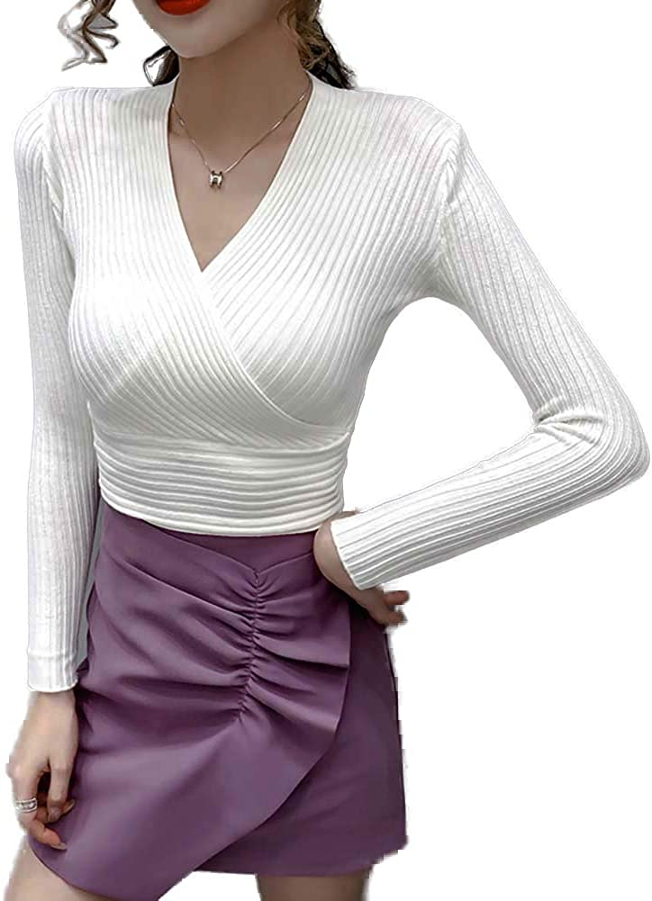 HUAHUA Women's Sweater Dress Knit Ribbed Long Sleeve Cut Out Front Slim Fit Knit Sexy Club Bandage Bodycon Mini Pencil Dress