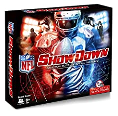 Officially licensed product of the National Football League Includes all 32 NFL teams NFL Showdown is for everyone. Play in ROOKIE MODE or PRO MODE Kick field goals with the NFL FLICKER KICKER Make BIG PLAYS. Each team comes with BIG PLAY cards highl...