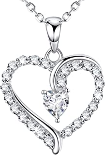 Christmas Necklace Gifts for Women Mom Birthday Love Heart Jewelry Anniversary Gifts for Wife Simulated Diamond Sterling Silver Pendant