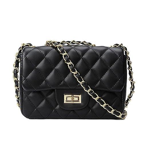 c7cff3003da Small Gold Chain Quilted Shoulder Bag Mini Cross Body Women Handbag Clutch  Classic Evening Bag (