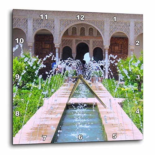 3dRose DPP_112956_3 Water Fountains at Alhambra Palace Gardens in Grenada Spain-Islamic Turkish Muslim Arches-Wall Clock, 15 by 15-Inch