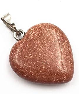 REBUY® Goldstone Pendant Reiki Healing and Crystal Healing Heart Shape Stone Pendant for Men & Women
