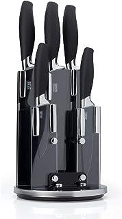 5pc Kitchen Knife Block Set - Brooklyn Range by Taylors Eye Witness. Chrome Coloured Bolsters, Finely Ground Razor Sharp S...