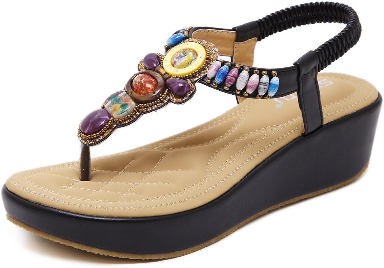 U-MAC Women Fashion Wedge Solid Platform Mid Heel T-Straps Bohemian Rhinestone Summer Beach Dress Sandals
