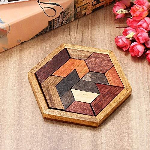 AJH Blokken DIY 9 STKS Houten IQ Game Jigsaw Intelligente Tangram Brain Teaser Puzzel Kinderspeelgoed Foto Kleur Bouwstenen Set