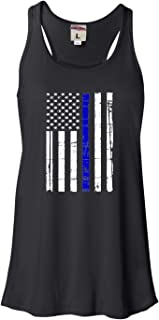 Womens Thin Blue Line Distressed American Flag Flowy Racerback Tank Top T-Shirt