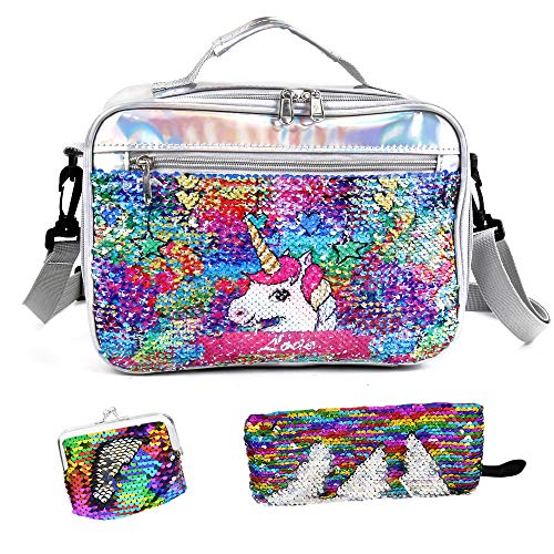 IAMGlobal Insulated Unicorn Lunch Box, Mermaid Lunch Bag, Reversible Sequin Lunch Tote Bag, Handheld Reusable Lunch Box With A Pencil Case, A Mini Purse For Girls Boy