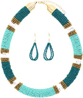African Necklace, Zulu Necklace, Maasai Beaded Necklace with Matching Earrings, Bead Necklace