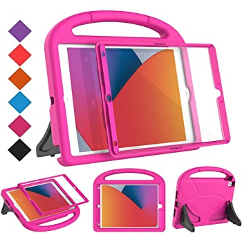 "BMOUO New iPad 10.2 Case 2020/2019- iPad 8th/7th Generation Case with Built-in Screen Protector, Shockproof Light Weight Handle Stand Kids Case for iPad 10.2"" 2019/2020 Latest Model - Rose"