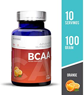 Advance Nutratech BCAA - 100 g (Orange) Bcaas Branched Chain Amino Acid Supplements (10 Servings) pre Workout Powder
