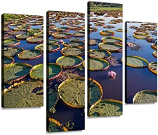 Victoria Water Lily Pads in a Marsh Canvas Wall Art Hanging Paintings Modern Artwork Abstract Picture Prints Home Decoration Gift Unique Designed Framed 4 Panel