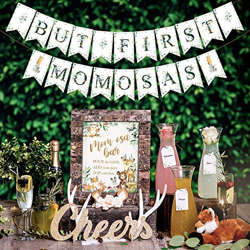Momosa Bar Kit - Woodland Baby Shower Decorations Boy Girl or Gender Neutral Party Decor with Rustic Forest Theme Animals & Creatures Fox Owl Bear Doe Buck Oh Deer Banner Mimosa Sign (Woodlands)