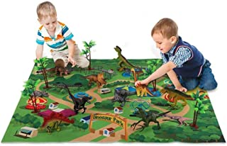 SYXX Dinosaur Toy Figure With Activity Play Mat, Children's Dinosaur World Game Carpet Scene, Children's Dinosaur Toy Simu...