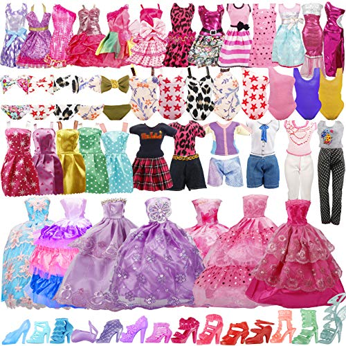 35 Pack Handmade Doll Clothes Including 5 Wedding Gown Dresses 5 Fashion Dresses 4 Braces Skirt 3 Tops and Pants 3 Bikini Swimsuits 15 Shoes for Barbie Doll and Other11.5 Inch Dolls