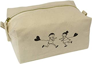 'Heart Balloon Couple' Canvas Wash Bag / Makeup Case (CS00018410)