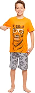 Boys 2-Piece Pajama Set with Fun Design - Turn-Over-Sleeve Top & Shorts
