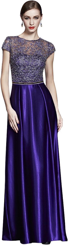 BeautyEmily ALine Lace ONeck Cap Sleeve ONeck Evening Dresses