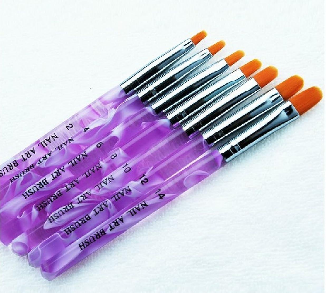 逃げる軍艦こどもの日POT ジェル ネイルブラシ 7本セット UV用 ジェルブラシ 平筆ブラシ 使い分けに ナンバー 印字 入り