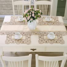 Amzali Brown Flower Embroidered Stain Resistant Placemats, Vinyl Washable Lace Lunchmat Place Mats, Home Kitchen Dining Restaurant Table Mats Set of 4