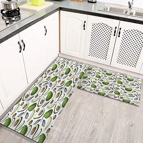 rutschfeste Küchenmatten Bio-Avocado hinterlässt Detox Antioxidans Lifestyle Stay Young Print,Teppiche Waschbare Gummiunterlage Fußmatte Mikrofaser-Teppich Set