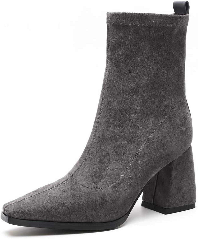 AdeeSu Womens Fashion High-Heels Solid Urethane Boots SXE04839