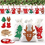 Vivibel Christmas Advent Calendar Bags 2020, 24 Days Countdown Calendar Gift Bags, DIY Candy Fillable Burlap Bags with 24 Number Stickers for Fireplace Walls Christmas Decorations