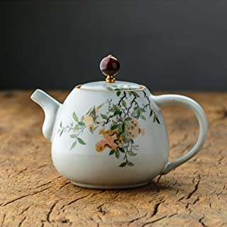 急須 バルクお茶とティーバッグ用セラミックティーポット手描きの小さなバブル手作りセラミックティーポット (Color : Pink, Size : 280ml)