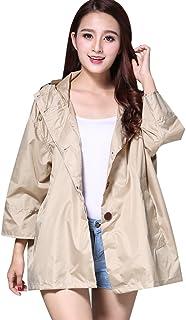 PENGFEI レインコートポンチョ 防水 ジャケット 日焼け止め服 ルーズ 観光 通気性のある 女性、 2色展開 (色 : カーキ, サイズ さいず : L l)