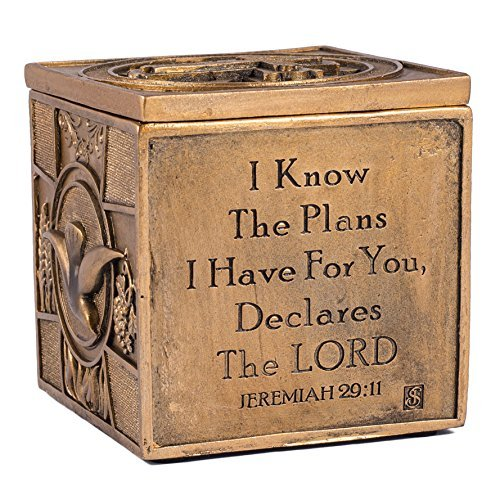 I Know the Plans I Have For You Jeremiah 29:11 3.5 x 3.5 Inch Bronze Sacrament Keepsake Box